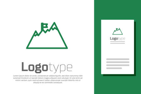 Green line Mountains with flag on top icon isolated on white background. Symbol of victory or success concept. Goal achievement. design template element. Vector