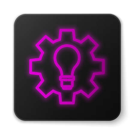 Glowing neon line Light bulb and gear icon isolated on white background. Innovation concept. Business idea. Black square button. Vector