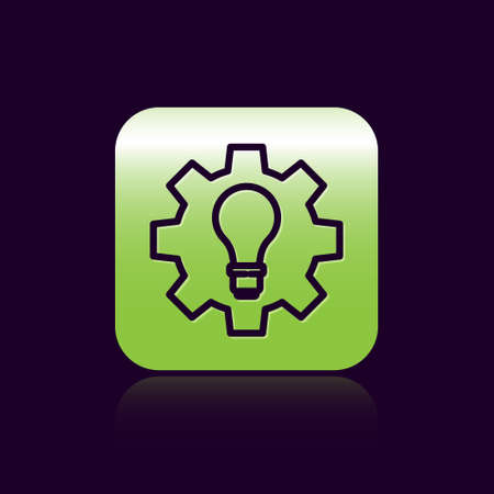 Black line Light bulb and gear icon isolated on black background. Innovation concept. Business idea. Green square button. Vector