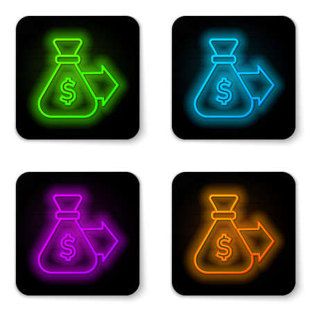 Glowing neon line Money bag icon isolated on white background. Dollar or USD symbol. Cash Banking currency sign. Black square button. Vector Ilustrace