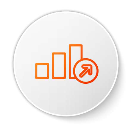 Orange line Financial growth icon isolated on white background. Increasing revenue. White circle button. Vector