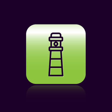 Black line Lighthouse icon isolated on black background. Green square button. Vector