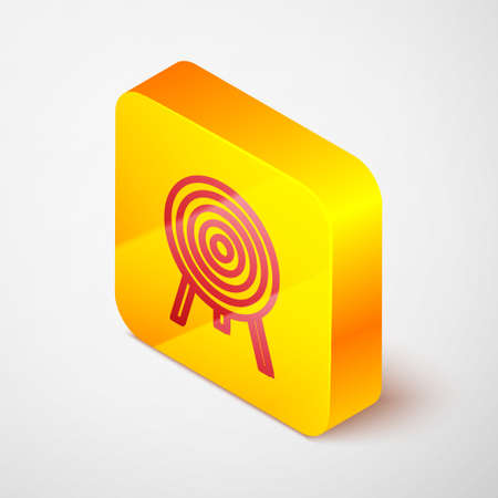 Isometric line Target icon isolated on grey background. Dart board sign. Archery board icon. Dartboard sign. Business goal concept. Yellow square button. Vector Ilustrace
