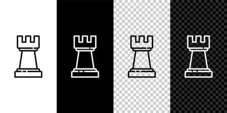Set line Chess icon isolated on black and white background. Business strategy. Game, management, finance. Vector
