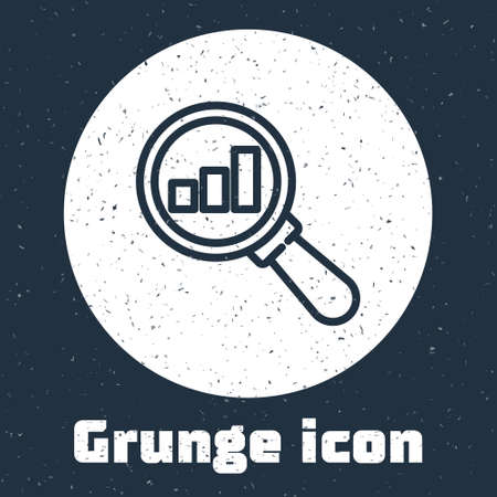 Grunge line Magnifying glass and data analysis icon isolated on grey background. Monochrome vintage drawing. Vector Ilustrace