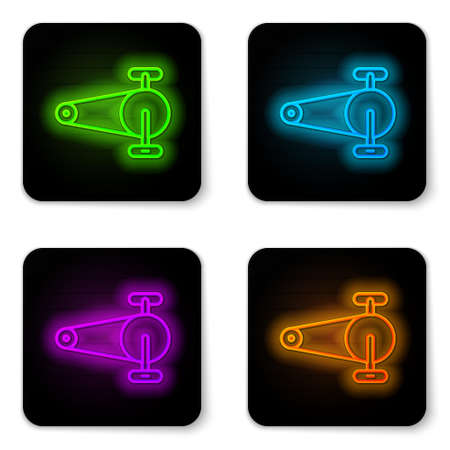 Glowing neon line Bicycle chain with cogwheels icon isolated on white background. Bike chain sprocket transmission. Black square button. Vector Ilustrace