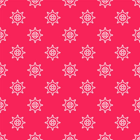 White line Bicycle sprocket crank icon isolated seamless pattern on red background. Vector