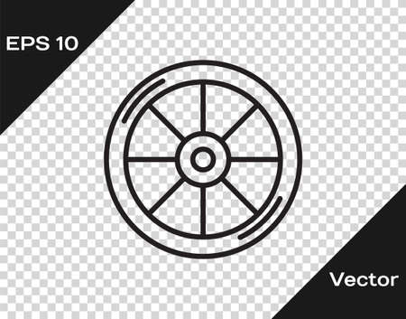 Black line Bicycle wheel icon isolated on transparent background. Bike race. Extreme sport. Sport equipment. Vector