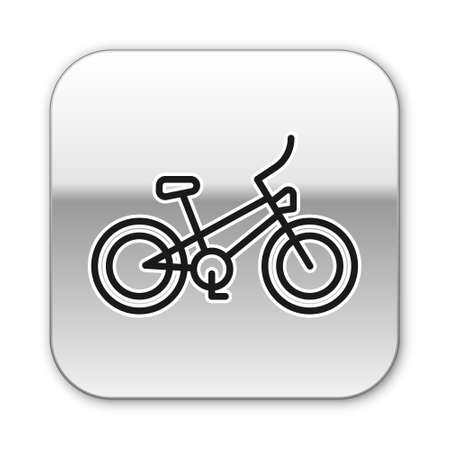 Black line Bicycle icon isolated on white background. Bike race. Extreme sport. Sport equipment. Silver square button. Vector Banque d'images - 157958593