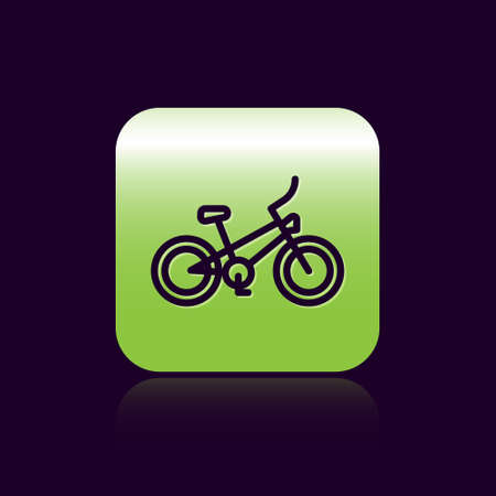Black line Bicycle icon isolated on black background. Bike race. Extreme sport. Sport equipment. Green square button. Vector Illustration
