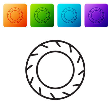 Black line Bicycle wheel tire icon isolated on white background. Bike race. Extreme sport. Sport equipment. Set icons in color square buttons. Vector