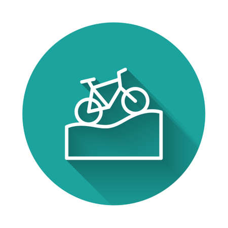 White line Mountain bicycle icon isolated with long shadow. Bike race. Extreme sport. Sport equipment. Green circle button. Vector