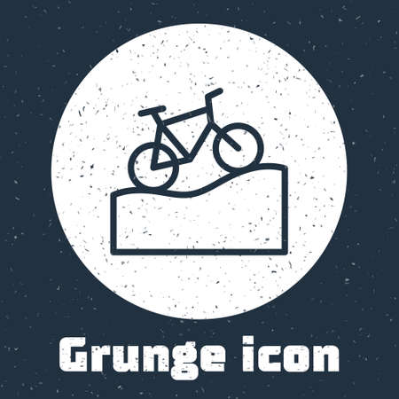 Grunge line Mountain bicycle icon isolated on grey background. Bike race. Extreme sport. Sport equipment. Monochrome vintage drawing. Vector Illustration