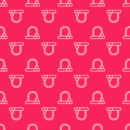 White line Bicycle lock U shaped industrial icon isolated seamless pattern on red background. Vector