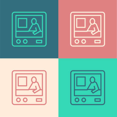 Pop art line Television report icon isolated on color background. TV news. Vector