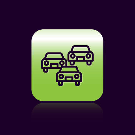 Black line Traffic jam on the road icon isolated on black background. Road transport. Green square button. Vector