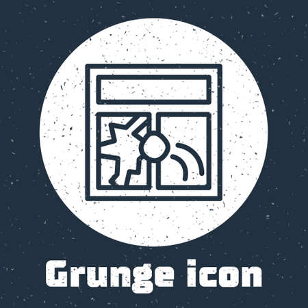 Grunge line Broken window icon isolated on grey background. Damaged window. Beaten windowpane concept. Vandalism. Monochrome vintage drawing. Vector