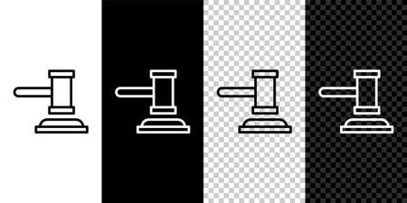 Set line Judge gavel icon isolated on black and white background. Gavel for adjudication of sentences and bills, court, justice. Auction hammer. Vector 免版税图像 - 157958046