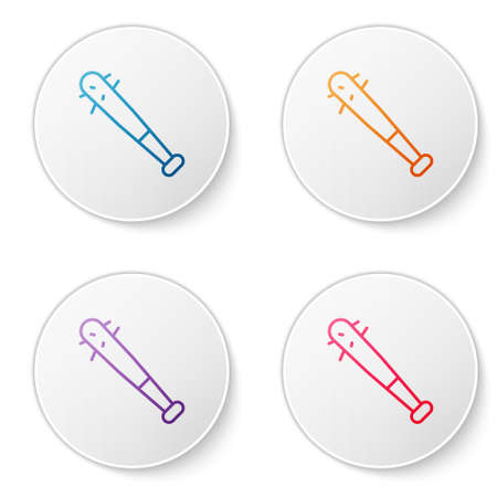 Color line Baseball bat with nails icon isolated on white background. Violent weapon. Set icons in circle buttons. Vector 矢量图像