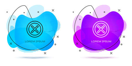 Line X Mark, Cross in circle icon isolated on white background. Check cross mark icon. Abstract banner with liquid shapes. Vector