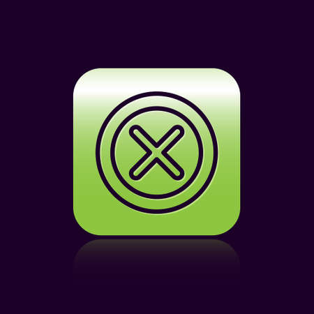 Black line X Mark, Cross in circle icon isolated on black background. Check cross mark icon. Green square button. Vector