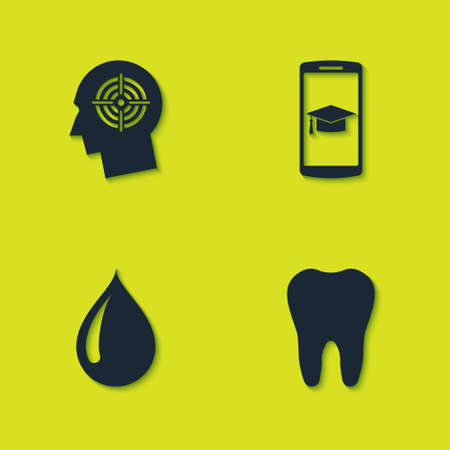 Set Head hunting concept, Tooth, Water drop and Graduation cap mobile icon. Vector