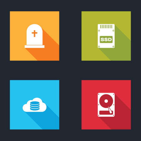 Set Tombstone with cross, SSD card, Cloud database and Hard disk drive HDD icon. Vector 矢量图像