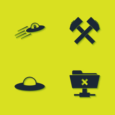 Set UFO flying spaceship and alien, FTP cancel operation, and Two crossed hammers icon. Vector