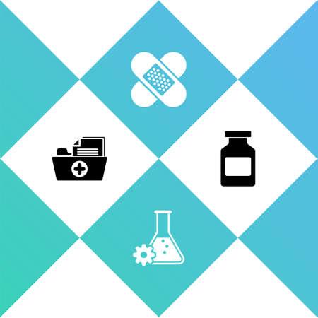 Set Health record folder, Bioengineering, Crossed bandage plaster and Medicine bottle icon. Vector