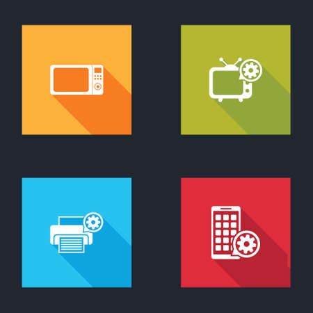 Set Microwave oven, Tv setting, Printer and Mobile Apps icon. Vector
