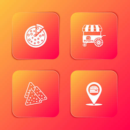 Set Pizza, Fast street food cart, Nachos and Location with burger icon. Vector