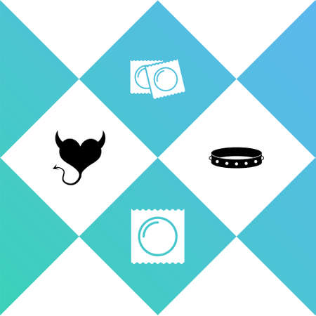 Set Devil heart with horns, Condom in package, Condoms and Leather fetish collar icon. Vector