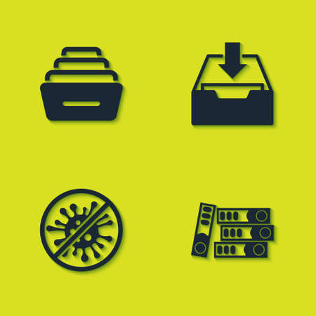 Set Drawer with documents, Office folders, Stop virus, bacteria and Download inbox icon. Vector