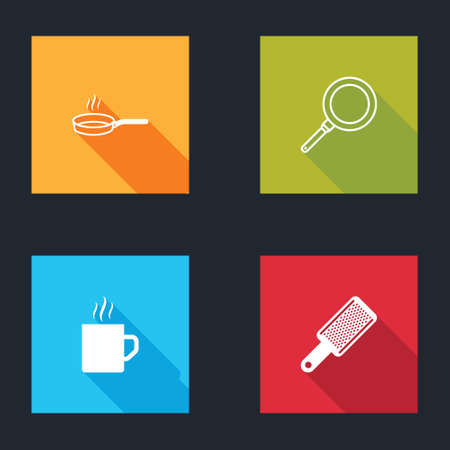 Set Frying pan, , Coffee cup and Grater icon. Vector