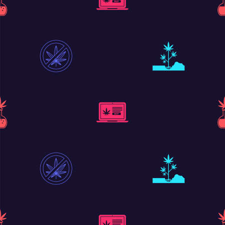Set Planting marijuana, Stop, Online buying and Test tube with on seamless pattern. Vector