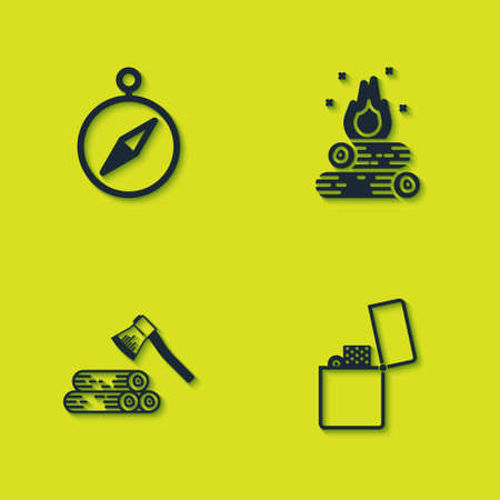 Set Compass, Lighter, Wooden axe and wood and Campfire icon. Vector
