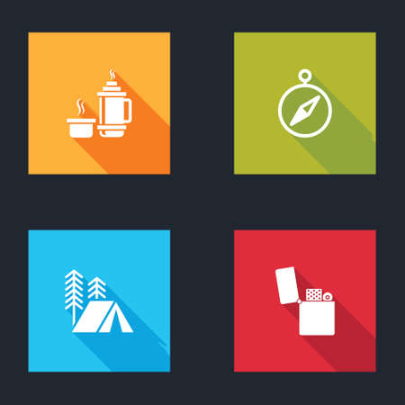 Set container, Compass, Tourist tent and Lighter icon. Vector