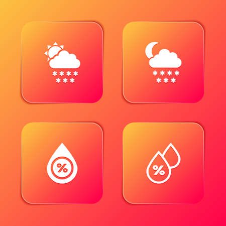 Set Cloud with snow and sun, moon, Water drop percentage and icon. Vector