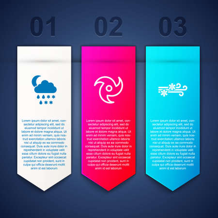 Set Cloud with snow, rain, moon, Tornado and Wind and. Business infographic template. Vector