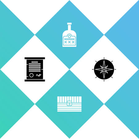 Set Decree, parchment, scroll, Antique treasure chest, Alcohol drink Rum bottle and Wind rose icon. Vector