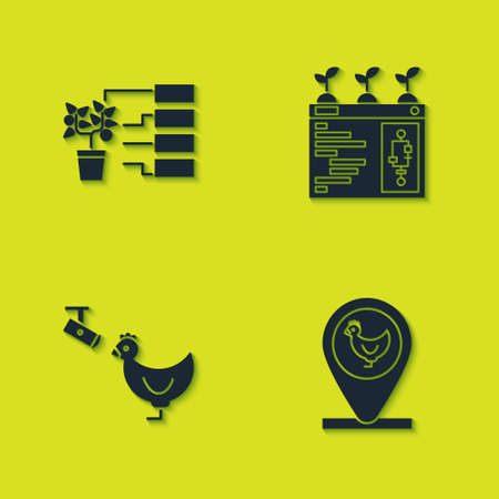 Set Flower analysis, Chicken farm and location, camera and Smart farming technology icon. Vector