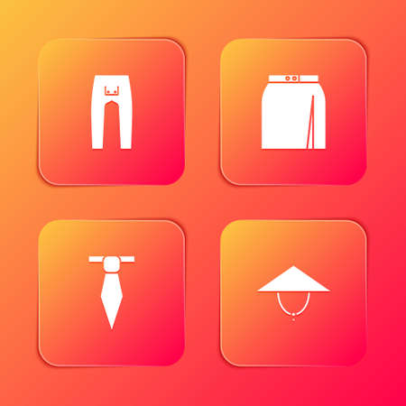 Set Pants, Skirt, Tie and Asian conical hat icon. Vector 矢量图像
