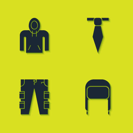 Set Hoodie, Winter hat with ear flaps, Cargo pants and Tie icon. Vector
