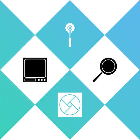 Set Electronic scales, Ventilation, Pizza knife and Frying pan icon. Vector