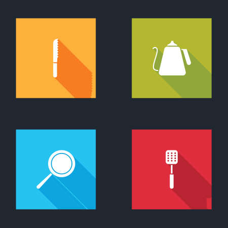 Set Bread knife, Kettle with handle, Frying pan and Spatula icon. Vector