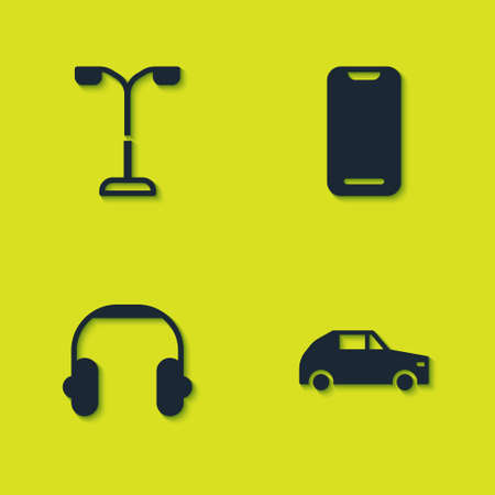 Set Street light, Car, Headphones and Smartphone icon. Vector Illustration