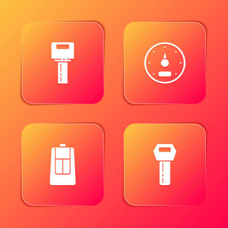 Set Car key with remote, Speedometer, and icon. Vector