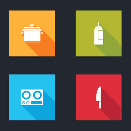 Set Cooking pot, Sauce bottle, Gas stove and Knife icon. Vector