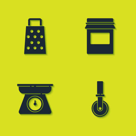 Set Grater, Pizza knife, Scales and Jam jar icon. Vector