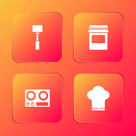 Set Kitchen hammer, Jam jar, Gas stove and Chef hat icon. Vector Çizim